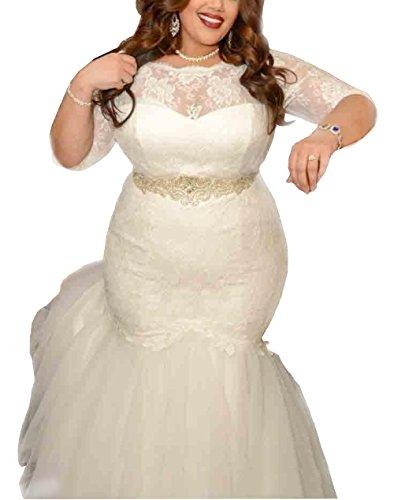 Dreamdress Women's Lace Mermaid Wedding Dresses Plus Size Bridal (Plus Size Bridal)