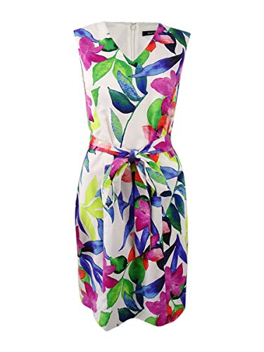 - ELLEN TRACY Women's Tropical Floral Print Dress with Self Belt, White/Multi, 10