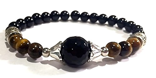 Handmade Black Onyx, Black Tourmaline and Tigers Eye Healing Bracelet