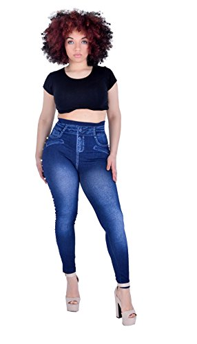 Celeb Jeggings Leggings Diamante Dtail Femme Perle Look Stretch Look Denim Bleu n4YSB