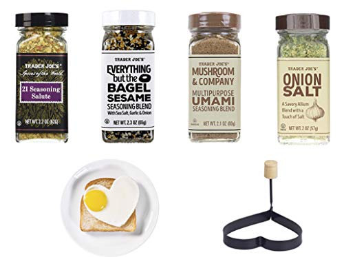 Trader Joes's Seasoning Bonus Pack- Everything but The Bagel Sesame Seasoning Blend, 21 Seasoning Salute, Mushroom & Company Multipurpose UMAMI Seasoning Blend, Onion Salt and Bonus Non Stick Egg Ring