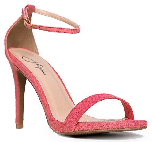 (Aria Rose Pink Suede High Heel Sandal, 8 B(M) US)