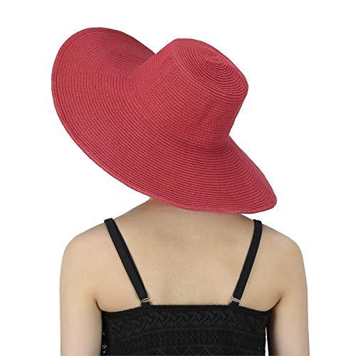(HDE Womens Striped Beach Sun Hats Floppy Wide Brim Straw Hat Cap for Festivals)