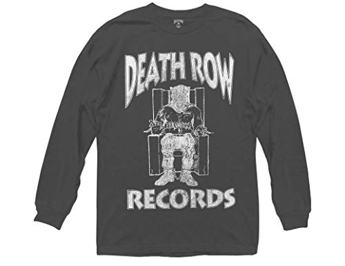 Ripple Junction Death Row Records Adult Unisex Distressed Logo Heavy Weight 100% Cotton Long Sleeve Crew T-Shirt SM Charcoal