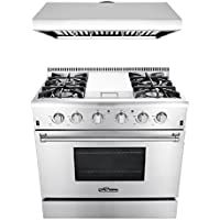 Thor Kitchen 2-Piece Kitchen Package with 36 Professional Steel Gas Range with Griddle, and 36 Under Cabinet Range Hood Stainless Steel