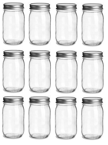 12 pcs , 16 oz Mason Glass Jars with Silver Lids (16 oz)