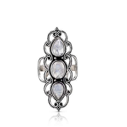 - Koral Jewelry Moonstone 3 Stones Ethnic Vintge Gipsy Multi Stone Ring 925 Sterling Silver Vintage Tribal Gipsy Boho Chic (7)
