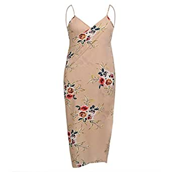 PEATAO Women Sexy Bikini Cover up, Spaghetti Strap Beach Swimwear Long Wrap Dress Plus Size S Apricot