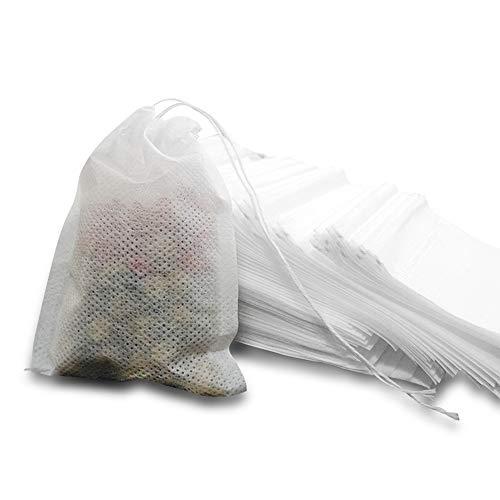 MOAMUN Bolsas de filtro de te, bolsas de infusor de te desechables de 600 piezas con papel biodegradable y cordon de calidad alimentaria ambiental para te suelto o te de hierbas(pequeno)