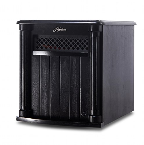 Hunter Solid Wood Cabinet 6-Quartz Infrared Heater with Remote Control, Black