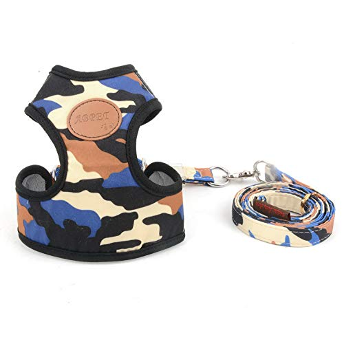 SMALLLEE_LUCKY_STORE Small Dog Cat Mesh Harness & Lead No Escape Adjustable Padded Military Camo Blue M from SMALLLEE_LUCKY_STORE