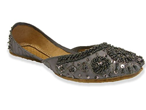 Beachcombers Steel Gray Tribal Style Beaded Shoes Indian Khussa Belly Dance Flats Womens 8 (Sca Belly Dancing)