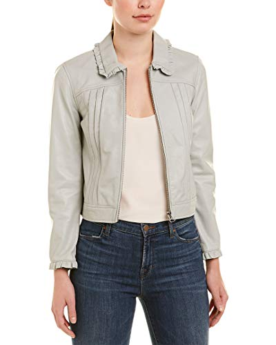 Rebecca Taylor Womens Ruffle Leather Jacket, 8