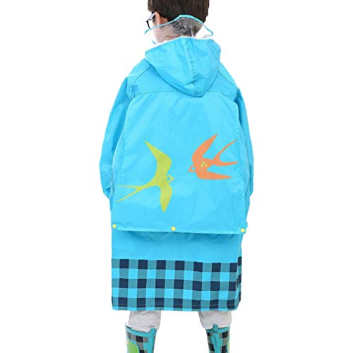 Cartoon Lluvia Con Hibote Carry Azul Poncho Boys Pouch Girls Easy Kids Impermeable a Capucha Rqx45TH4w