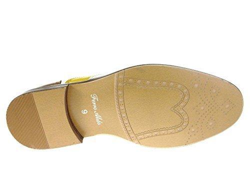 (Ferro Aldo Men's 19355 Tri-Color Perforated Brogue Cap Toe Lace Up Dress Shoes, Brown,)