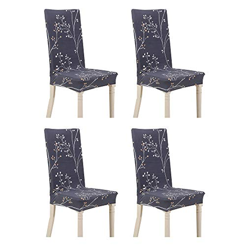 Argstar 4 Pack Chair Slipcovers for Dining Room Spandex Protector Covers for Kitchen Black Designed X_02