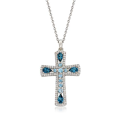 Ross-Simons 1.50 ct. t.w. London and Swiss Blue Topaz Cross Pendant Necklace With White Topaz in Sterling Silver