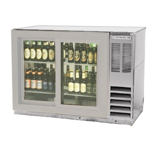 Beverage Air BB48GSY-1-S-PT Standard Depth Glass Sliding Door Pass-Thru Back Bar Cooler in Stainless Steel