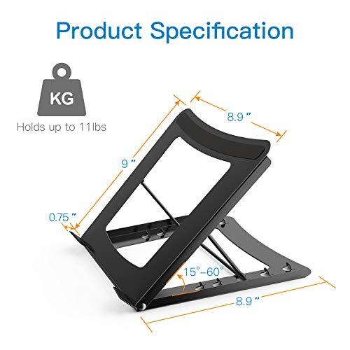 Laptop Stand - Height Adjustable Tablet Stand with 5 Tilt Levels & Anti-Slip Pads for Laptops, Computers, MacBook, Laptop Riser with Open Back for Ventilation Prevents Overheating by HUANUO (Image #4)
