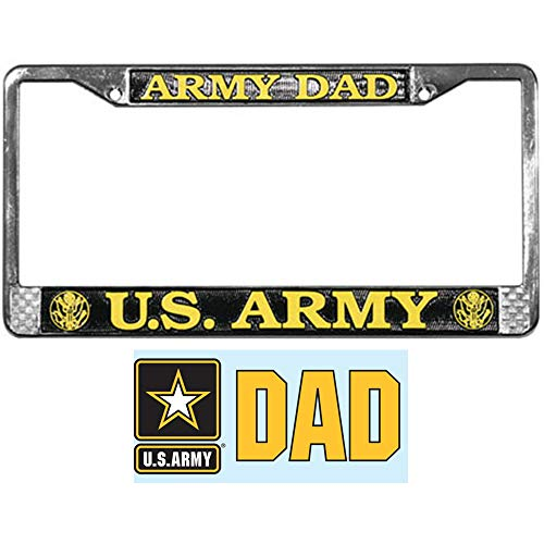 Butler Online Stores Army DAD License Plate Frame Gift Bundle with Army Dad Decal ()