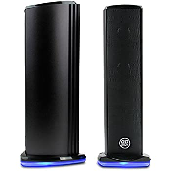 """Computer PC Speakers by GOgroove - SonaVERSE Ti - USB Powered Aluminum Alloy Bodies w/ LED Bases, Space Saving 9.1"""" Standing Tower Design with Dual 1.5"""" Drivers & Passive Bass Woofer in Each Speaker"""