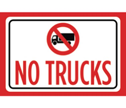 No Trucks Print Red Black White Notice Picture Symbol Outdoor Business Sign Large - Single Sign, 12x18