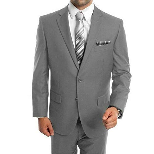 - Mens Light Grey 2 Button Single Breasted Classic Fit Suit New with Notch Lapels(54R/48Waist Regular)