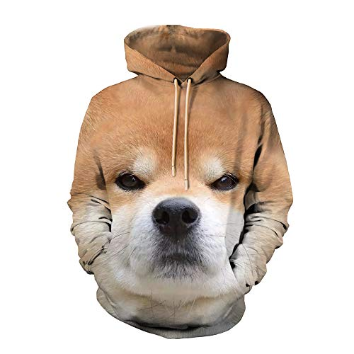 (Dog Printed 3D Hoodie for Women Men, Sweatshirt Cartoon Clothes with Pockets 3D Pullover Hoodie (Dog, L/XL))