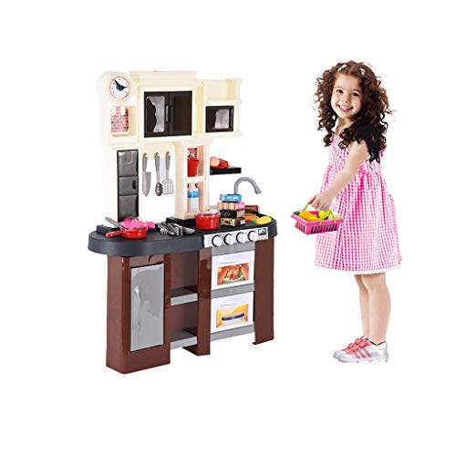Miklan Stylish Kitchen Kit Set Pretend Role Play,Toy Gift for Kids Toddlers Boys Girls Age 3+, Pretend Play Tools Box Kit with Window & Running Water Sounds of Kitchen for Kids, Educational Toy Gift ()