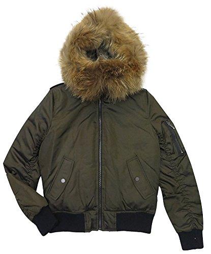 BCBG Max Azria Women's Blaze Olive Fur Hooded Puffer Coat (XXS) ()
