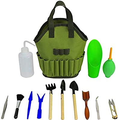 Succulent Kit Organizer Bag Gardening Tool Set | Terrarium Supplies Mini Succulent Garden Tool Kit | Heavy Duty Succulent Bonsai Planter Set Indoor Gardening | Fairy Zen Kit for Soil Fertilizer Seeds