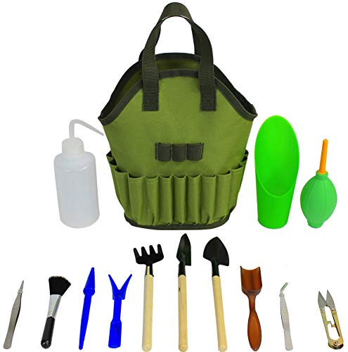 - Succulent Kit Organizer Bag Gardening Tool Set | Terrarium Supplies Mini Succulent Garden Tool Kit | Heavy Duty Succulent Bonsai Planter Set Indoor Gardening | Fairy Zen Kit for Soil Fertilizer Seeds