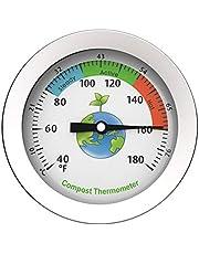 QOTSTEOS Komposttermometer, urtavla display rostfritt stål kompost termometer bärbar trädgård jordmark, rostfritt stål urtavla termometer för hem och trädgård kompostering (silver)