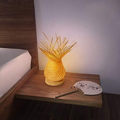 BarcelonaLED Lampara de mesa Vintage pantalla en mimbre bambu trenzada rustica, base de madera con portalamparas E27 LED para cabecera dormitorio salon escritorio mesita de noche