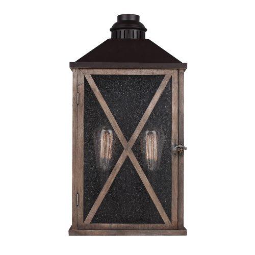 Feiss OL17004DWO/ORB 2-Bulb Outdoor Lantern, Dark Weathered Oak/Oil Rubbed Bronze Finish (Finish Bronze Bulbs 2 Weathered)