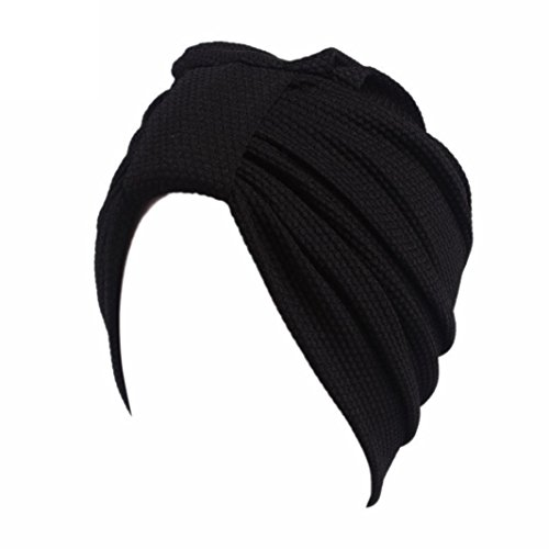 Woman Head Wrap Gift (Cywulin Women Chemo Hat,Cotton Casual Stretch Beanie Scarf Turban Head Wrap Cap Gift for Cancer (Black))