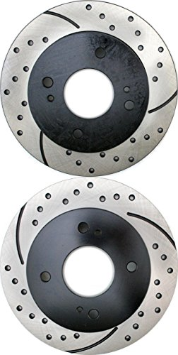 Prime Choice Auto Parts PR41065LR Drilled and Slotted Performance Rotor Pair for Rear