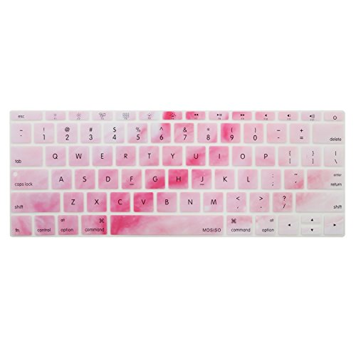 MOSISO Silicone Keyboard Cover Compatible MacBook Pro 13 Inch 2017 & 2016 Release A1708 Without Touch Bar, New MacBook 12 Inch A1534 Protective Skin, Mix Ombre Pink and Red