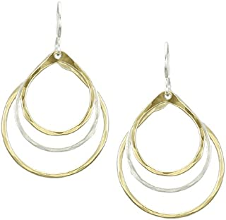 product image for Marjorie Baer Tiered Teardrop Earring in Brass and Silver