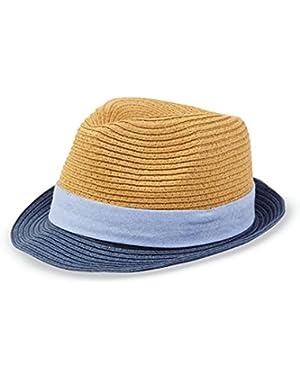Baby-boys Straw Fedora Hat