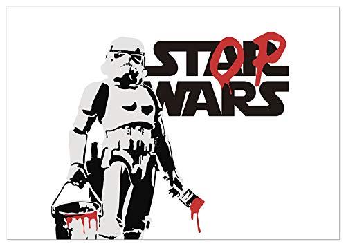 Panorama Poster Stop Wars Banksy Horizontal 70x50cm - Impreso en Papel 250gr - Poster Pared - Laminas para Enmarcar - Cuadros Decoracion Salon - Posters Decorativos - Cuadros Modernos