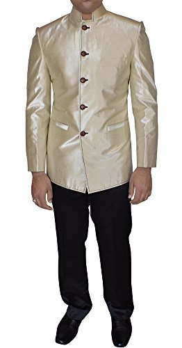 INMONARCH Mens Outstanding Look Band Collar Blazer Ready To Ship TX10002Z 38R Beige - Band Collar Blazer