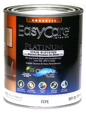 True Value ECPEP-QT Pure White Pastel Base Interior Eggshell Finish Paint with Stain Blocker EasyCare Platinum Paint and Primer in One, (Eggshell Pastel Base Paint)