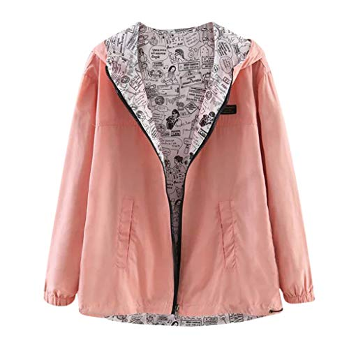 LUCAMORE Women's Casual Solid/Full Printed Coat On Both Sides Wearing Long Sleeve Zipper Up Hooded Jacket Pink