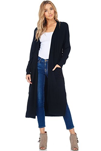 AD Womens Casual Longline Knit Cardigan Sweater W Side Slit (Black, Small/Medium)