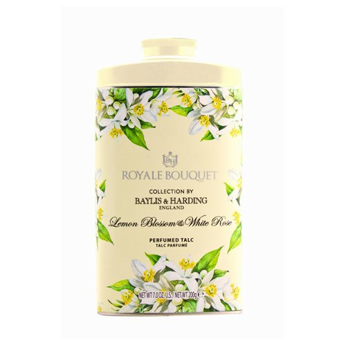 Baylis and Harding Royale Bouquet Royale Bouquet Lemon Blossom and White Rose Tinned Talc 200g Baylis & Harding RBLBTALC