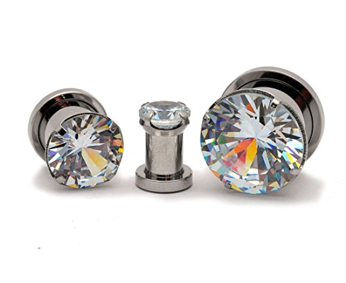 Mystic Metals Body Jewelry Pair of 316L Steel Screw on Plugs with Prong Set Clear CZ (PS-147) (0g (8mm))
