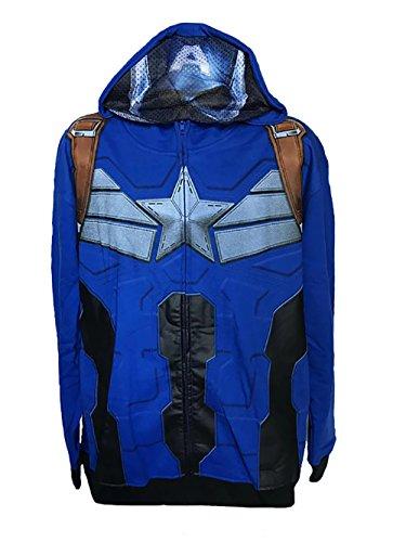 Captain America: The Winter Soldier Mens Zip Fleece Costume Hoodie with Mesh Mask (M/L, Captain (Costume Fleece Hoodie)