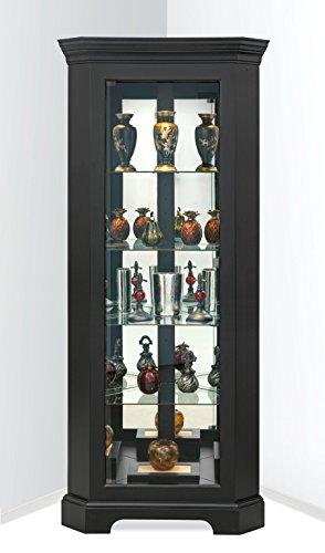 Philip Reinisch Newport Iii Corner Curio/Display Cabinet, Black