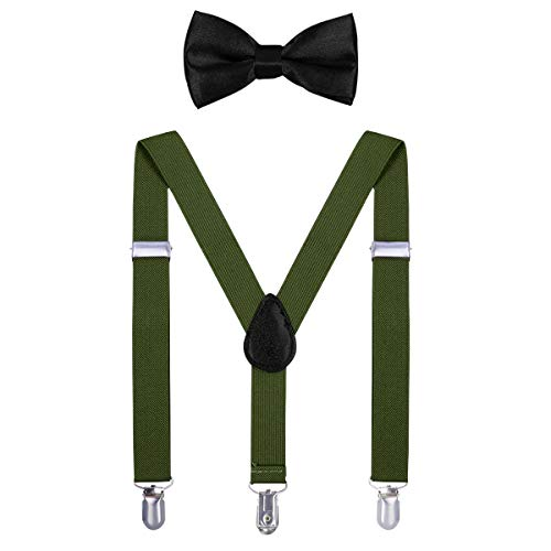 Kids Suspender Bow Tie Sets - Adjustable Braces With Bowtie Gift Idea for Boys and Girls by WELROG(Army Green) -